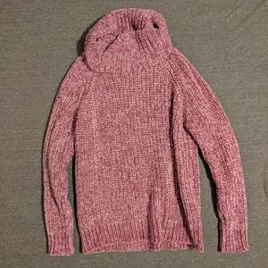 Pink chenille turtle neck sweater